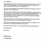 Ravenswick Hall letter to local residents