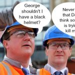 David Cameron and George Osborne wearing hard hats
