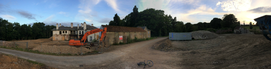 Panoramic shot of the Ravenswick Hall building site