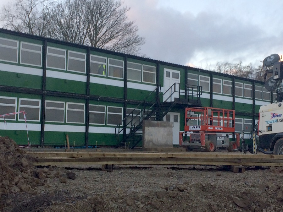 More portacabins at the Ravenswick Hall building site
