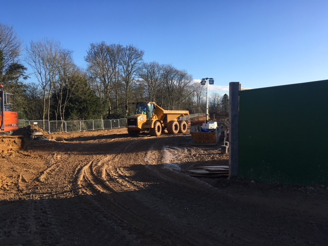 Large vehicles being used in the construction of Ravenswick Hall